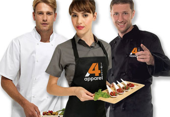 Photo of chefswear & hospitality clothing that can be customised
