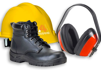 Image of hardhat, safety boot and ear defenders